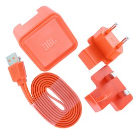 JBL USB adaptor and charging cable for Flip 2/3/4, Charge 2/3, Pulse 3 - Orange - Power adaptor and charging cable US, EU and UK - Hero