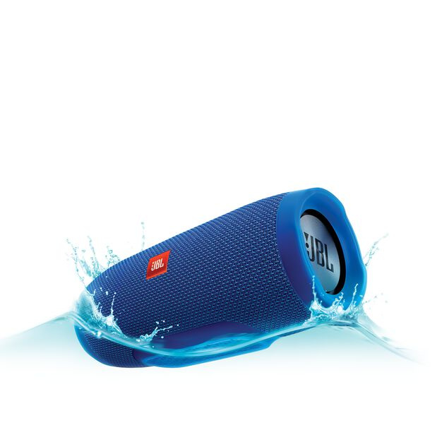 JBL Charge 3 - Blue - Full-featured waterproof portable speaker with high-capacity battery to charge your devices - Hero