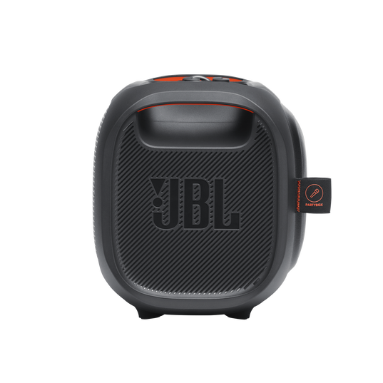 JBL PartyBox On-The-Go - Black - Portable party speaker with built-in lights and wireless mic - Left