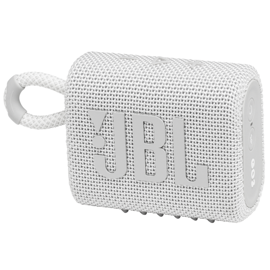 JBL GO 3 - White - Portable Waterproof Speaker - Hero