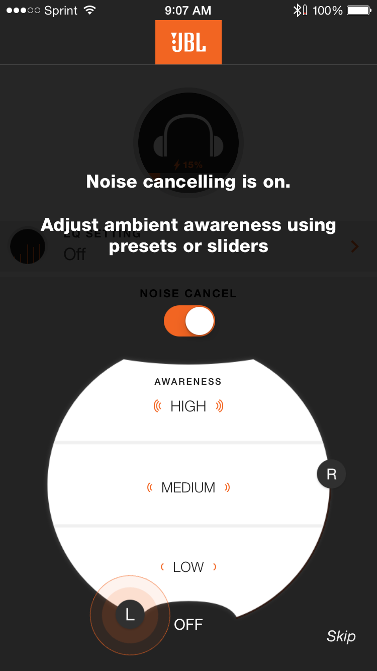 My JBL App Noise Cancelling